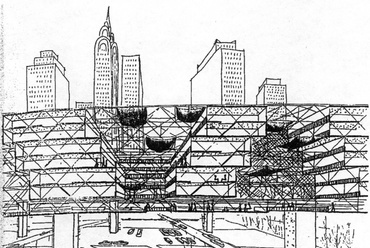 Yona Friedman, space-frames-in-the-air, forrás: Reyner Banham, Megastructure: Urban Futures of the Recent Past, London, 1976