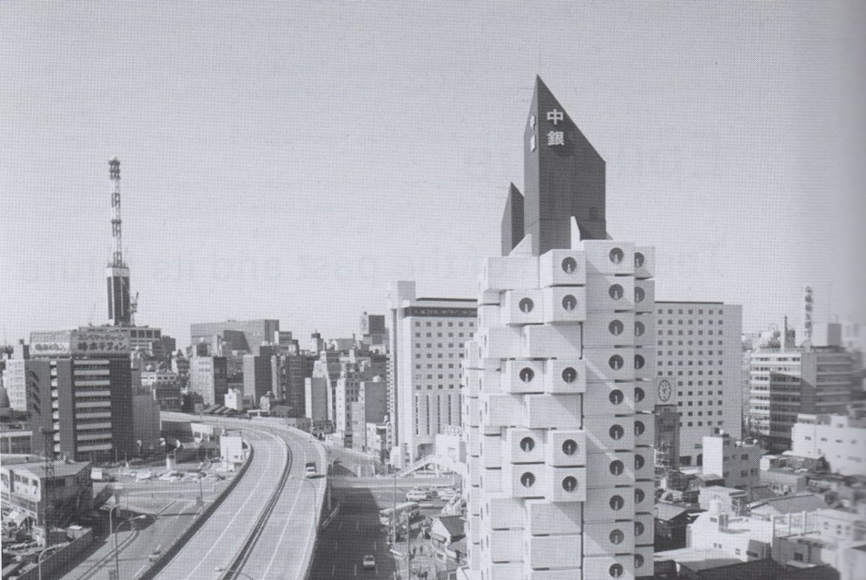 Kisho Kurokawa, Nakagin Kapszula Toronyház, 1972, forrás: http://moreaedesign.wordpress.com/2010/09/14/more-about-nakagin-capsule-tower/