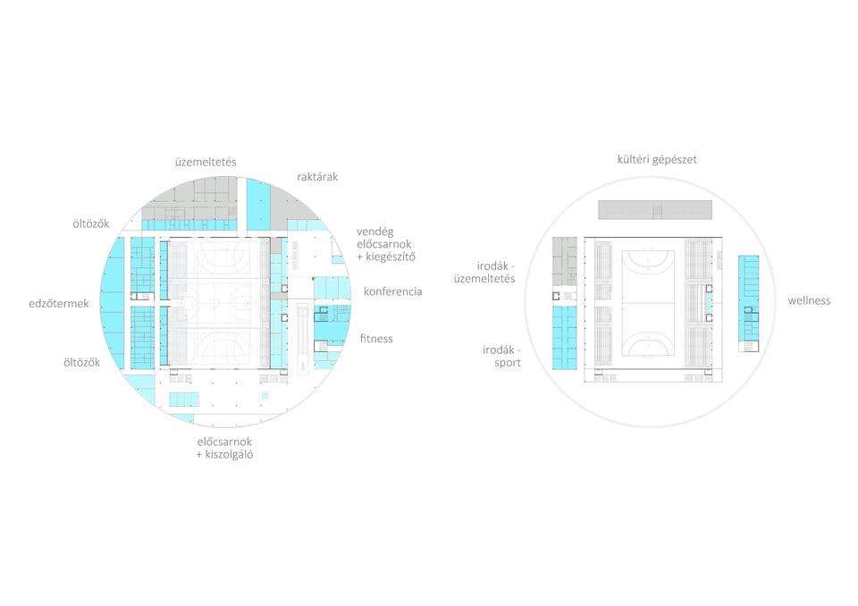 Funkcionális felosztás – Hajdúszoboszló Multifunkciós Rendezvénycsarnok – építész: Stúdió´100