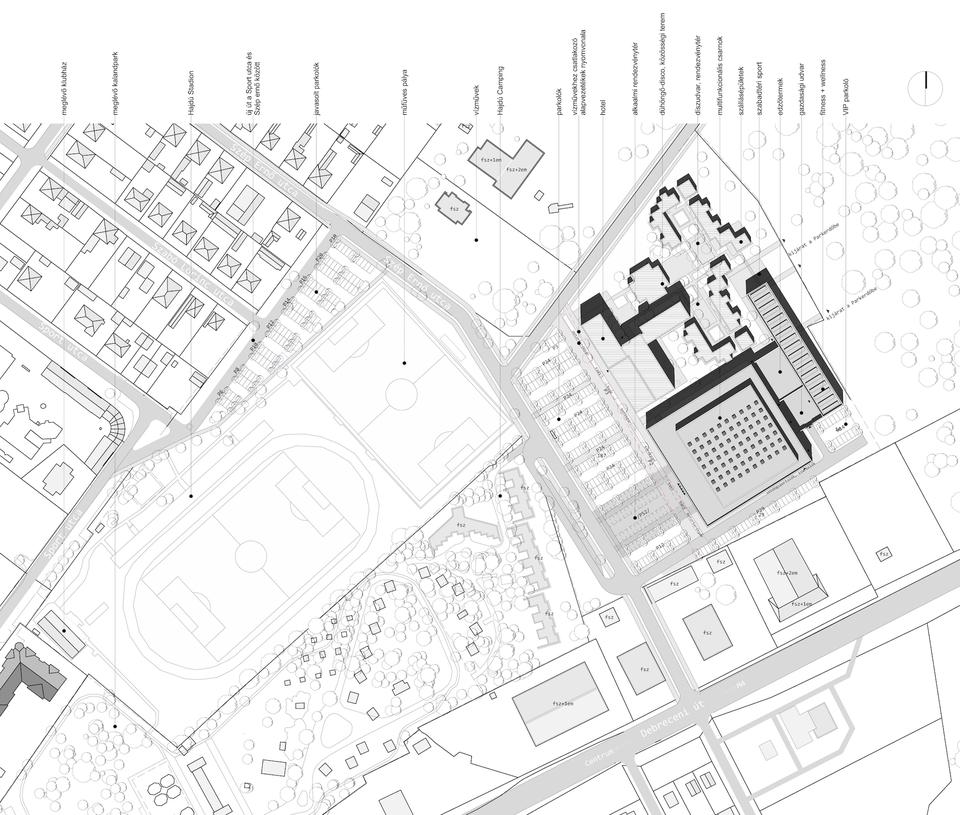 Átnézeti helyszínrajz – Hajdúszoboszlói Multifunkcionális Rendezvénycsarnok – építész: Wéber József / Wéber Építésziroda