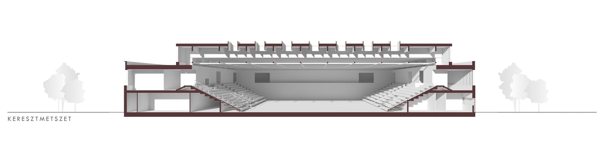 Keresztmetszet – Hajdúszoboszlói Multifunkcionális Rendezvénycsarnok – építész: Wéber József / Wéber Építésziroda