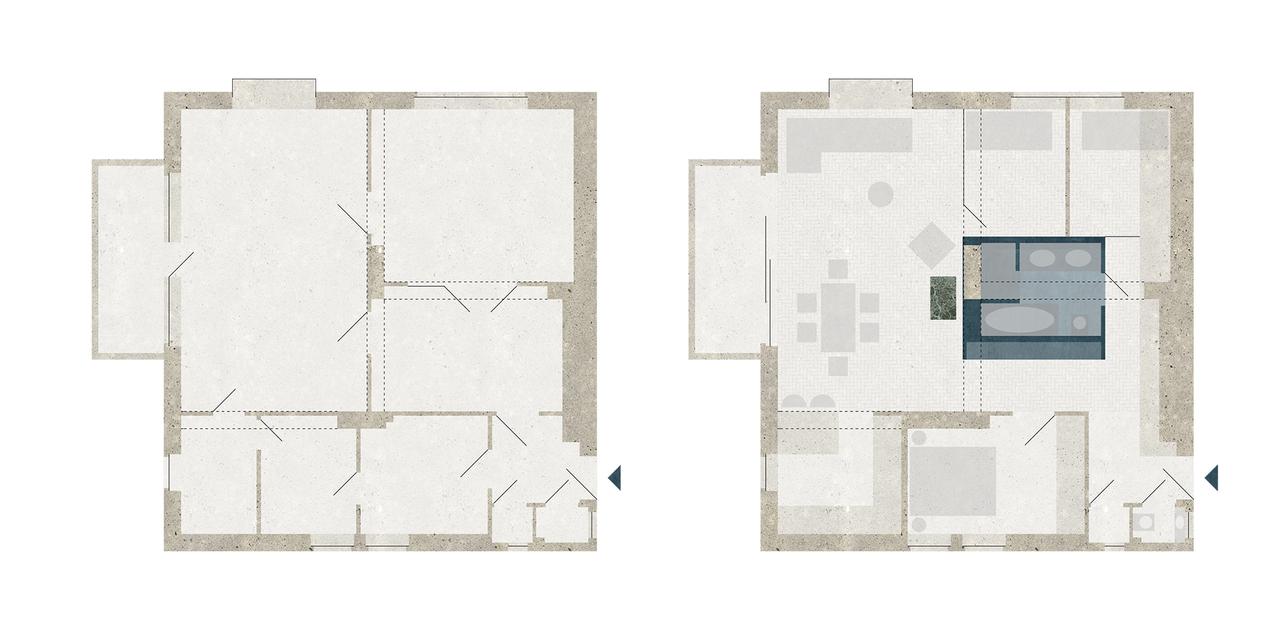 VRC – lakásfelújítás a 12. kerületben – alaprajzok előtte-utána – építész: batlab architects
