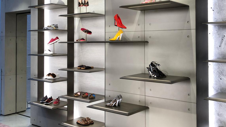 New York, Soho, elegáns butik falán látható Concrete Optik és Microtopping burkolatok